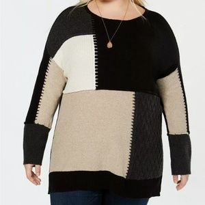 Style & Co Plus Size Colorblock Tunic Sweater 1X